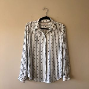 LOFT striped and dotted button down shirt